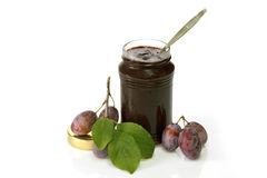 Plums and jam Royalty Free Stock Photos