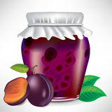 Plums jar of jam. With fruit on the side Stock Photo