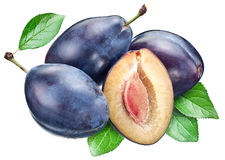 Plums with leaf. Clipping paths. Royalty Free Stock Images