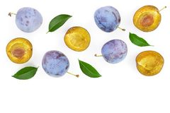 Plums with leaf isolated on a white background with copy space for your text. Top view. Flat lay pattern royalty free stock image