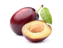 Plums with leaf Royalty Free Stock Photography