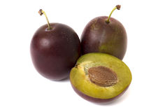 Plums  over white Stock Image