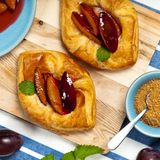 Plums pastries Royalty Free Stock Image