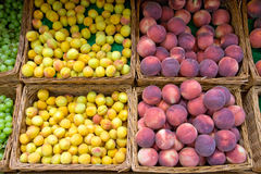 Plums and peaches Stock Photo