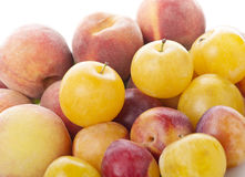 Plums and peaches Stock Photography