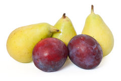 Plums and pears Royalty Free Stock Images