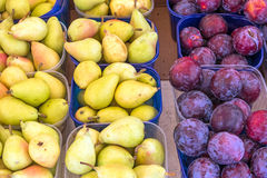 Plums and pears for sale Stock Photo