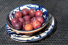Plums on a plate Royalty Free Stock Photo