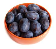 Plums on the plate with drops Stock Photo