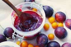 Plums and plum jam in a glass jar Royalty Free Stock Images