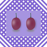 Plums. Purple plums on blue striped background Stock Photo