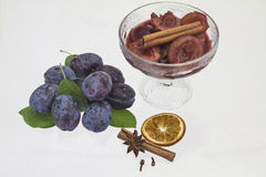 Plums in red wine Royalty Free Stock Photos