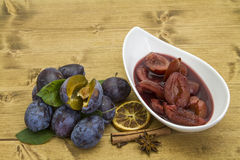 Plums in red wine Royalty Free Stock Photo