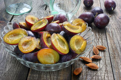 Plums with removed seeds Royalty Free Stock Photos