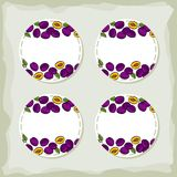Plums round sticker set Royalty Free Stock Photo