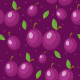 Plums seamless pattern. Plum endless background, texture. Fruits backdrop. Vector illustration. Stock Photography