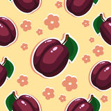 Plums. Seamless texture with plums and flowers Royalty Free Stock Photography