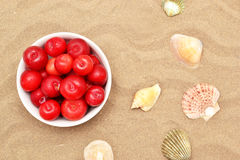 Plums and shells Stock Photo