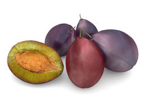 Plums with a slice Stock Photos