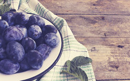 Plums.Vintage style Stock Images