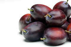 Plums on white background Royalty Free Stock Image