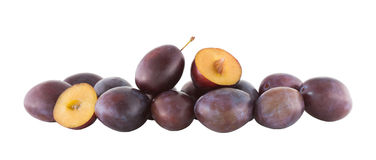 Plums on white background Royalty Free Stock Images