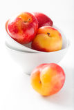 Plums in a white bowl with over white background Stock Images