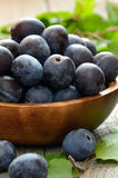 Plums in wooden bowl Royalty Free Stock Photo