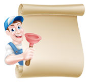 Plunger Handyman Scroll Stock Images
