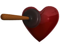 A plunger and heart Royalty Free Stock Photography