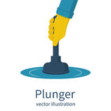 Plunger in man hand vector Royalty Free Stock Image