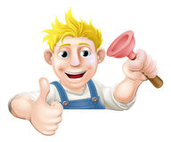 Plunger man over sign thumbs up Stock Photo