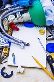Plunger and other plumbing equipment Royalty Free Stock Image