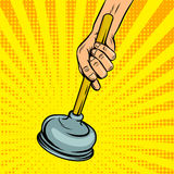 Plunger pop art style vector illustration Royalty Free Stock Photo