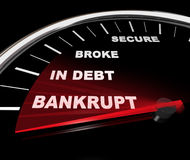 Plunging into Bankruptcy - Financial Speedometer Royalty Free Stock Images