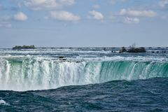 Plunging down: the Niagara River becomes Niagara Falls Royalty Free Stock Photos