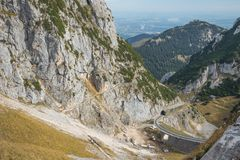 Plunging view of the Wendelstein rack railway Stock Images