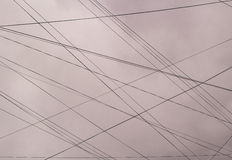 Plurality of electrical wire against the blue sky. royalty free stock images