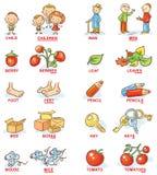 Pluralt av substantiv i färgrika tecknad filmbilder, kan användas som ett undervisninghjälpmedel för att lära för utländskt språk Royaltyfri Fotografi