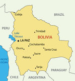 Plurinational State of Bolivia - map Royalty Free Stock Photo