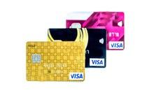 Plus étroitement vers le haut des cartes de crédit pour le fond photos libres de droits