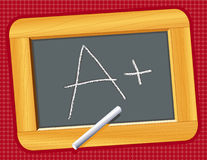 A Plus!. Wooden chalkboard on red background and an A Plus! for education, back to school, literacy projects, scrapbooks. Copy space to add your own text or Stock Photos