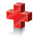 Plus. Illustration of red plus symbol isolated over white background Stock Image
