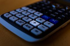 Plus adding key of the keyboard of a scientific calculator stock images