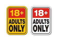 18 plus for adults only. Suitable for warning signs Royalty Free Stock Photos