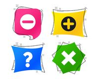 Free Plus And Minus Icons. Question FAQ Symbol. Vector Royalty Free Stock Photography - 133303867
