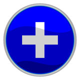 Plus button. Vector illustration of a glossy icon of the plus symbol Royalty Free Stock Photography