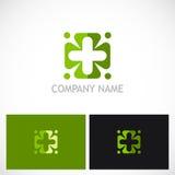 Plus circle green medic logo Royalty Free Stock Photo