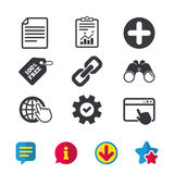 Plus circle and hyperlink signs. File, globe. Plus add circle and hyperlink chain icons. Document file and globe with hand pointer sign symbols. Browser window Royalty Free Stock Images