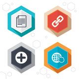 Plus circle and hyperlink signs. File, globe. Hexagon buttons. Plus add circle and hyperlink chain icons. Document file and globe with hand pointer sign symbols royalty free illustration